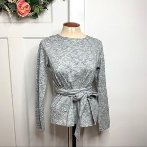 J. Crew Heathered Gray Belted Slit Belted Top